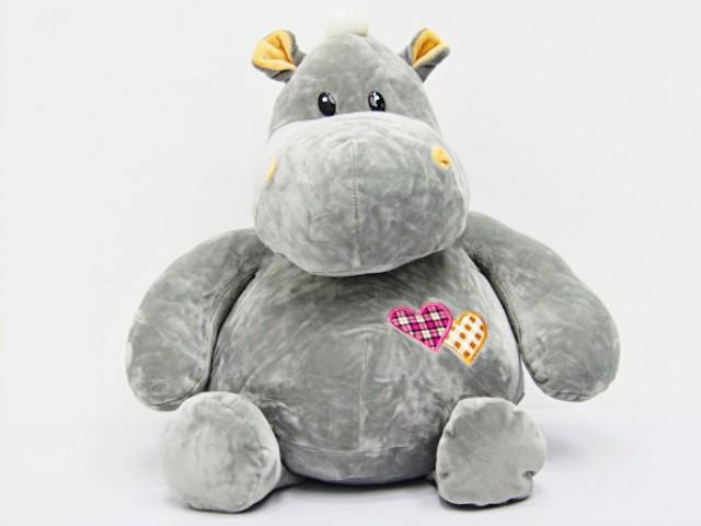 Мягкая игрушка Бегемотик с сердечками