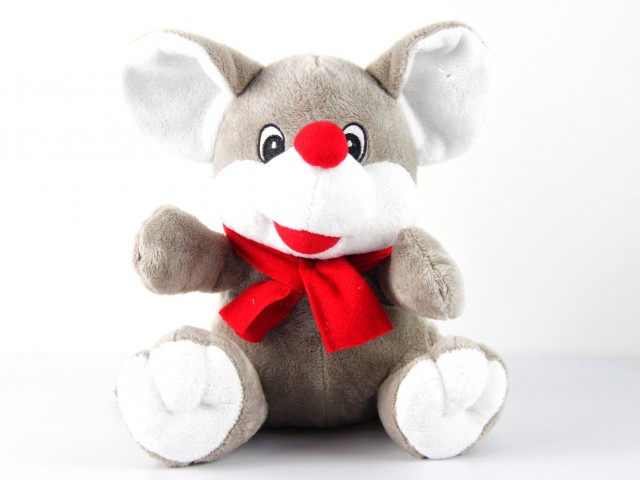 Мягкая игрушка Мышонок в красном шарфе