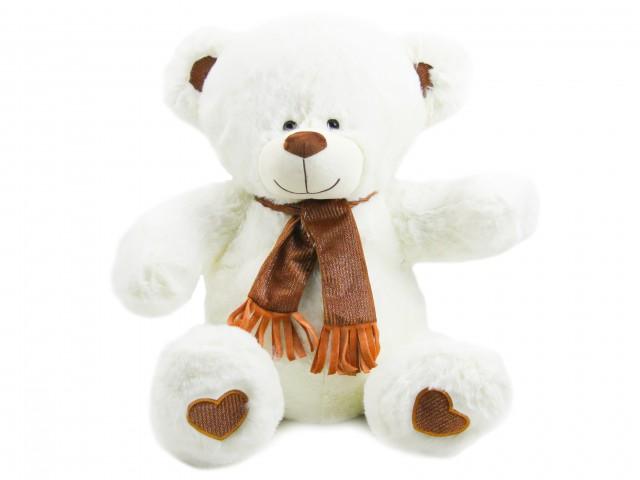 Мягкая игрушка Мишутка белый в блестящем шарфике