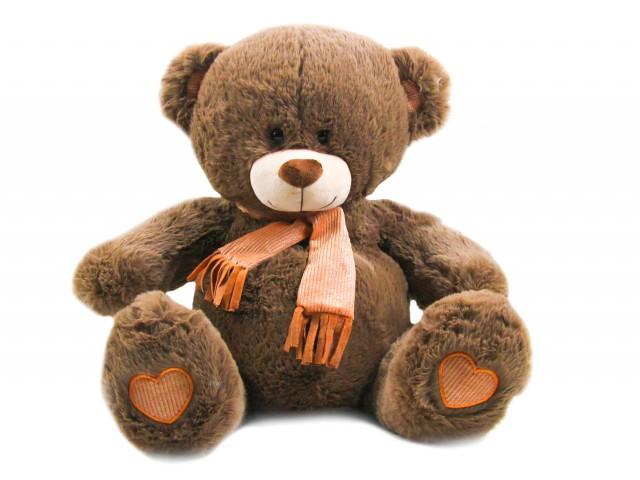 Мягкая игрушка Мишутка шоколадный в блестящем шарфике