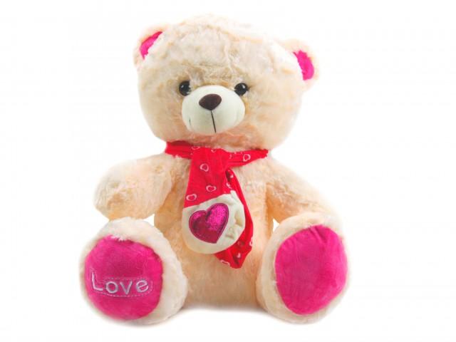 Мягкая игрушка Мишка в шарфике с сердечком кремовый