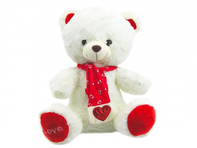 Мягкая игрушка Мишка в шарфике с сердечком белый