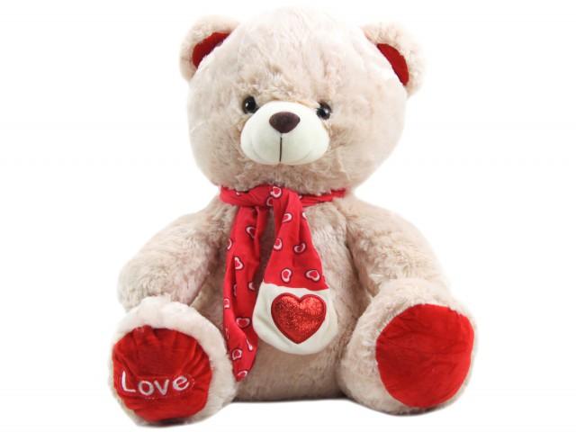 Мягкая игрушка Мишка в шарфике с сердечком карамельный