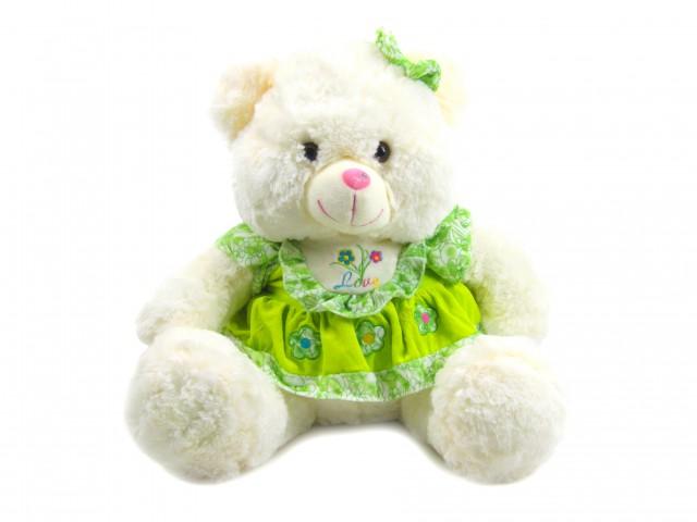 Мягкая игрушка Мишка девочка в зеленом платье