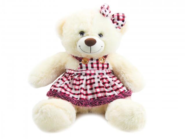 Мягкая игрушка Мишка девочка в клетчатом платье