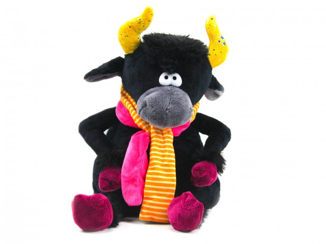 Мягкая игрушка Бык в шарфе игрушка пижамница