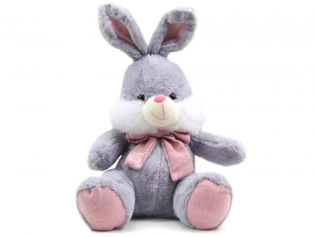 Мягкая игрушка Кролик серый с бантом