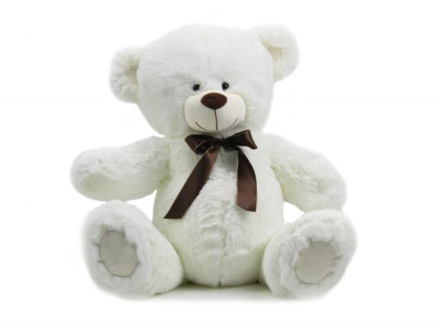 Мягкая игрушка Мишутка с атласным бантом белый