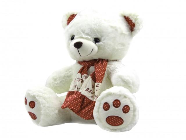 Мягкая игрушка Мишка в ярком шарфике белый