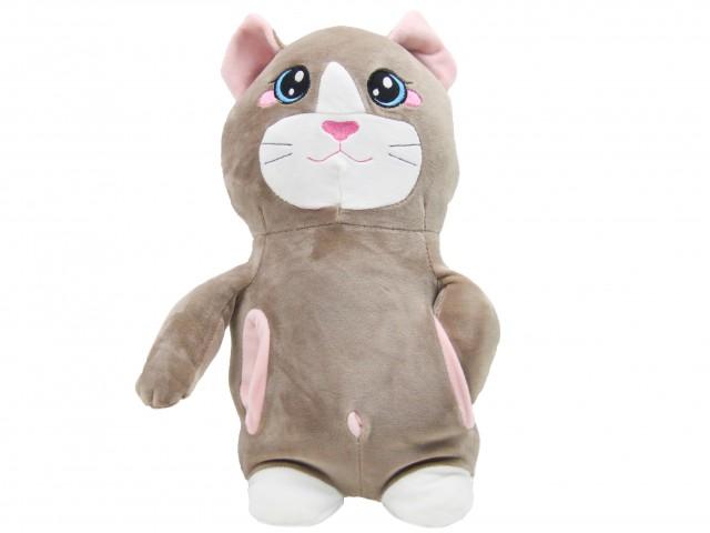 Мягкая игрушка Кот с кармашками кофейный