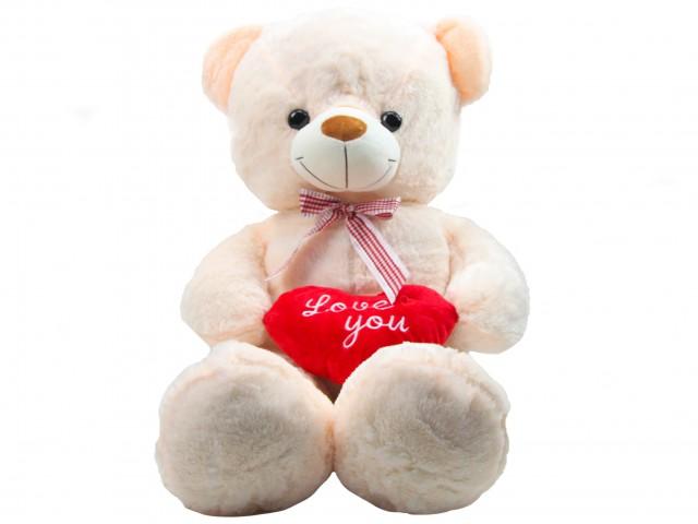 Мягкая игрушка Медвежонок с сердцем кремовый