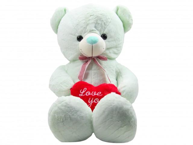 Мягкая игрушка Медвежонок с сердцем мятный