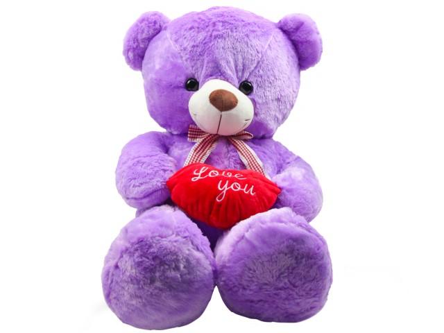 Мягкая игрушка Медвежонок с сердцем сиреневый