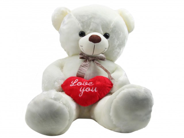Мягкая игрушка Мишутка с сердцем белый