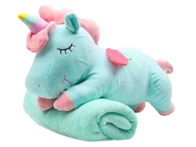 Мягкая игрушка Единорог мятный с пледом