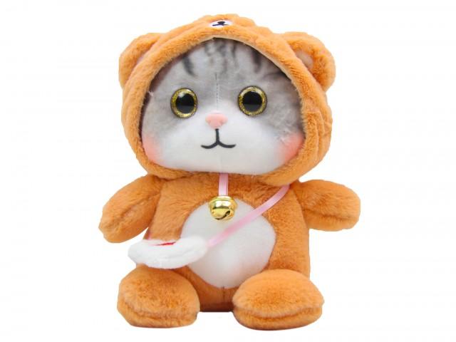 Мягкая игрушка Котенок в костюмчике медвежонка