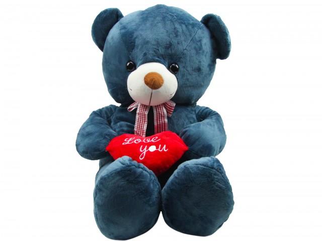 Мягкая игрушка Мишутка с сердцем синий