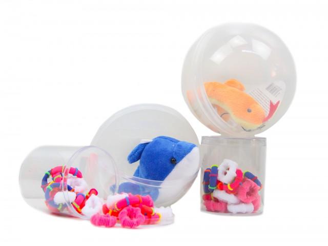 Мягкая игрушка Микс призовой туба с резинками +капсула с игрушкой