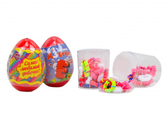 Мягкая игрушка Микс призовой туба с резинками + яйцо с игрушкой